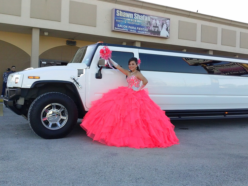 It is upscale to arrive in Hummer H2 limousine