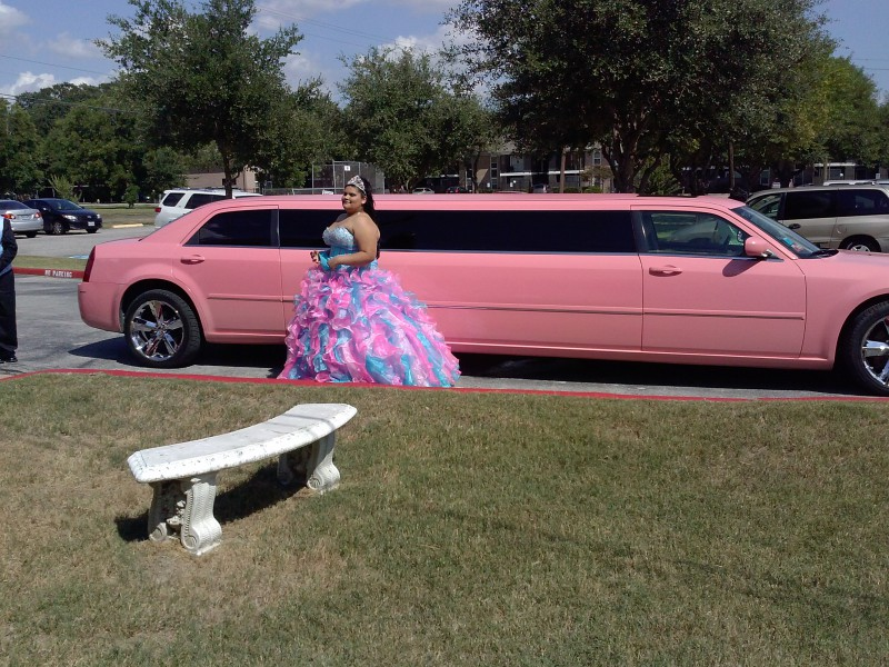 You can ride in a pink limo