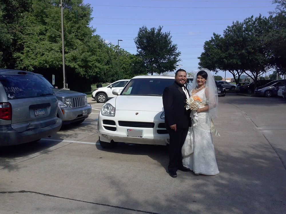 Wedding party take a Porsche Limo Ride